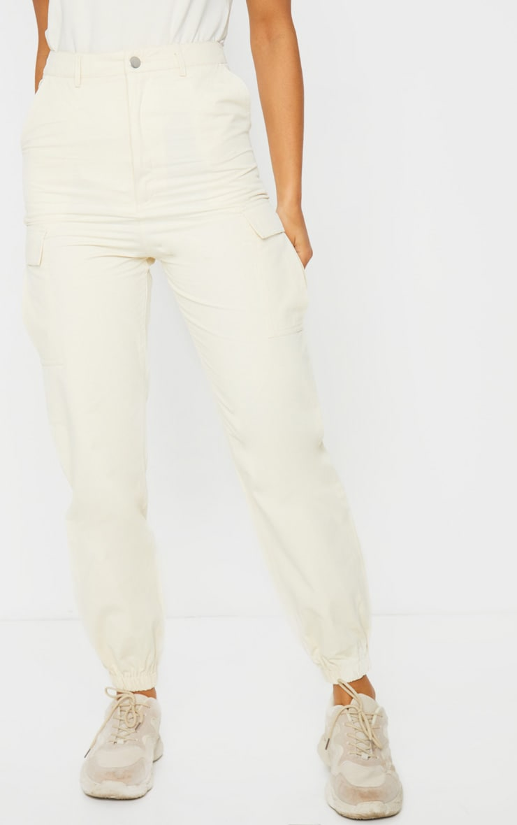 Cream Pocket Detail Cargo Pants 2