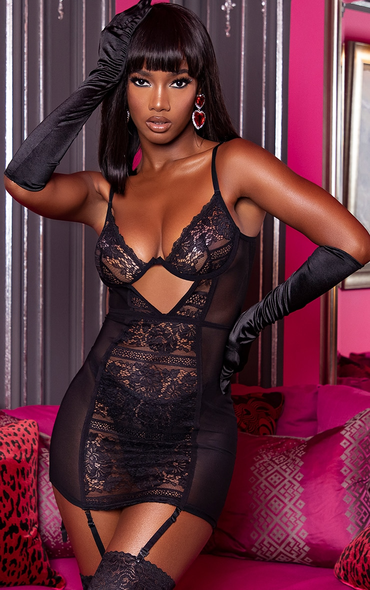 Black Cut Out Underwired Lace Lingerie Slip Dress