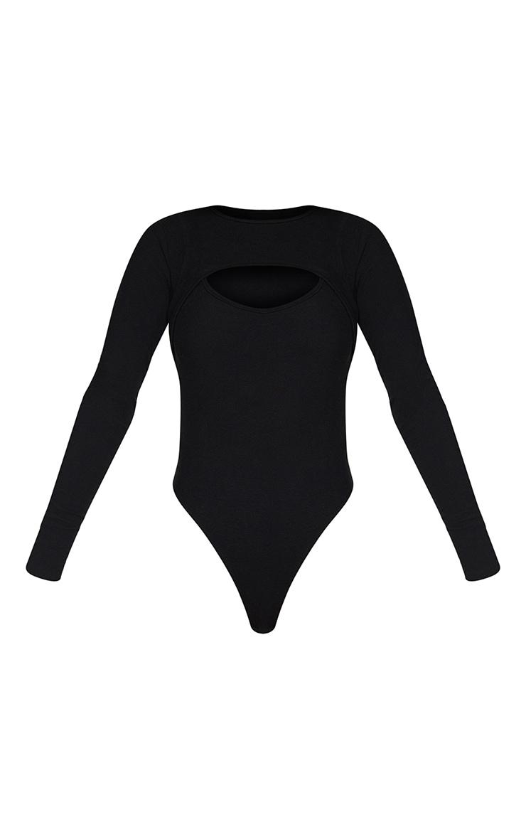 Black Rib Arm Warmer Cut Out Detail Bodysuit 5