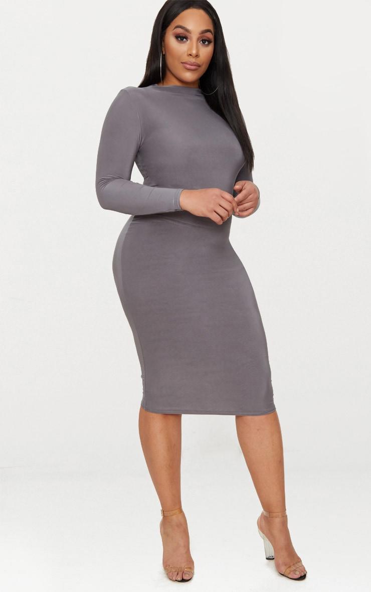 Plus Charcoal Grey Second Skin Slinky High Neck Midaxi Dress 1