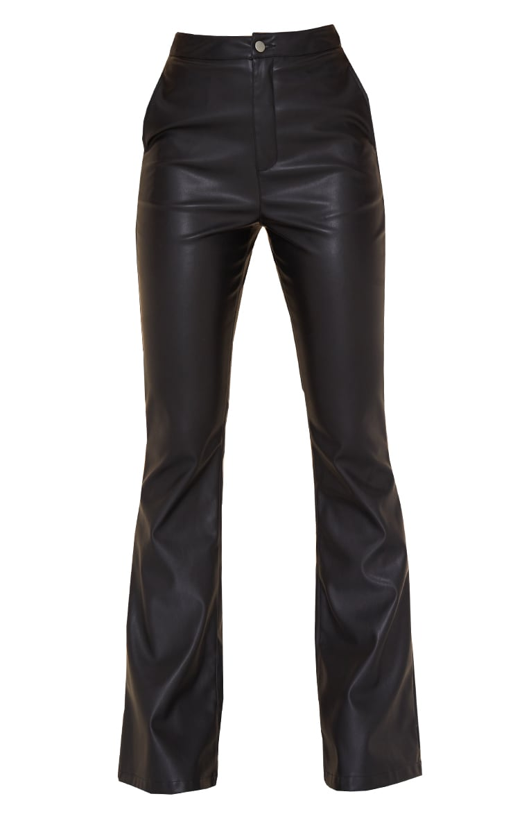 Black Faux Leather Thong Back Flare Pants 5