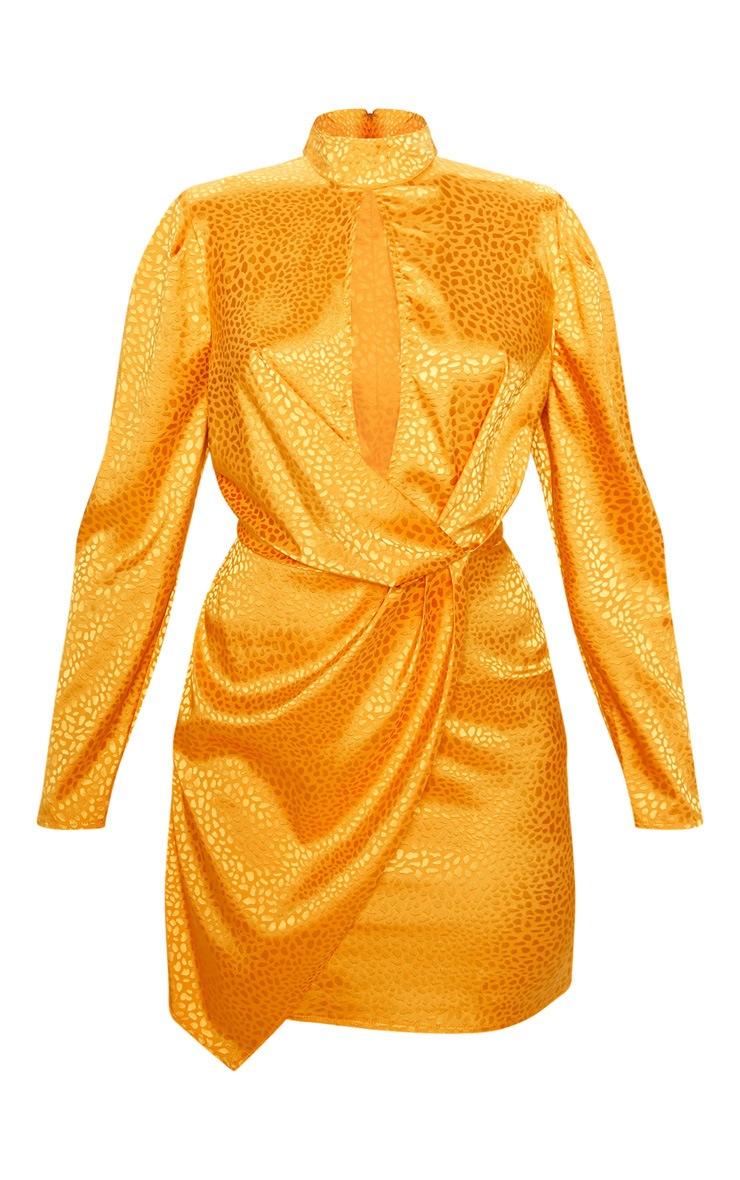 Mustard Satin Printed Keyhole Wrap Bodycon Dress 3