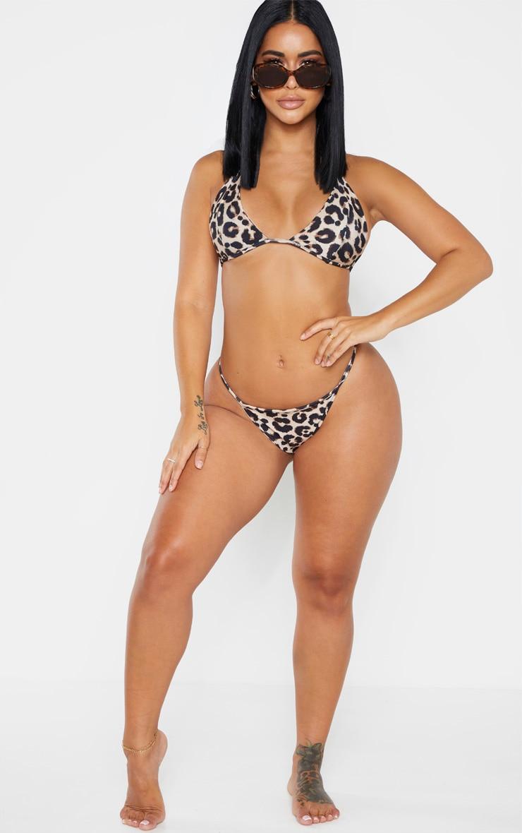 Shape Brown Leopard Print Skinny Strap Bikini Top 3