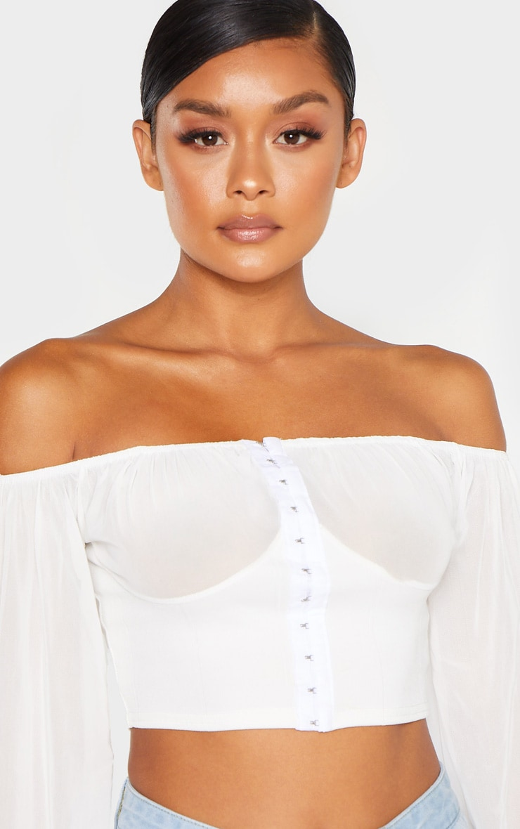Cream Ruched Cup Hook And Eye Crop Top 5