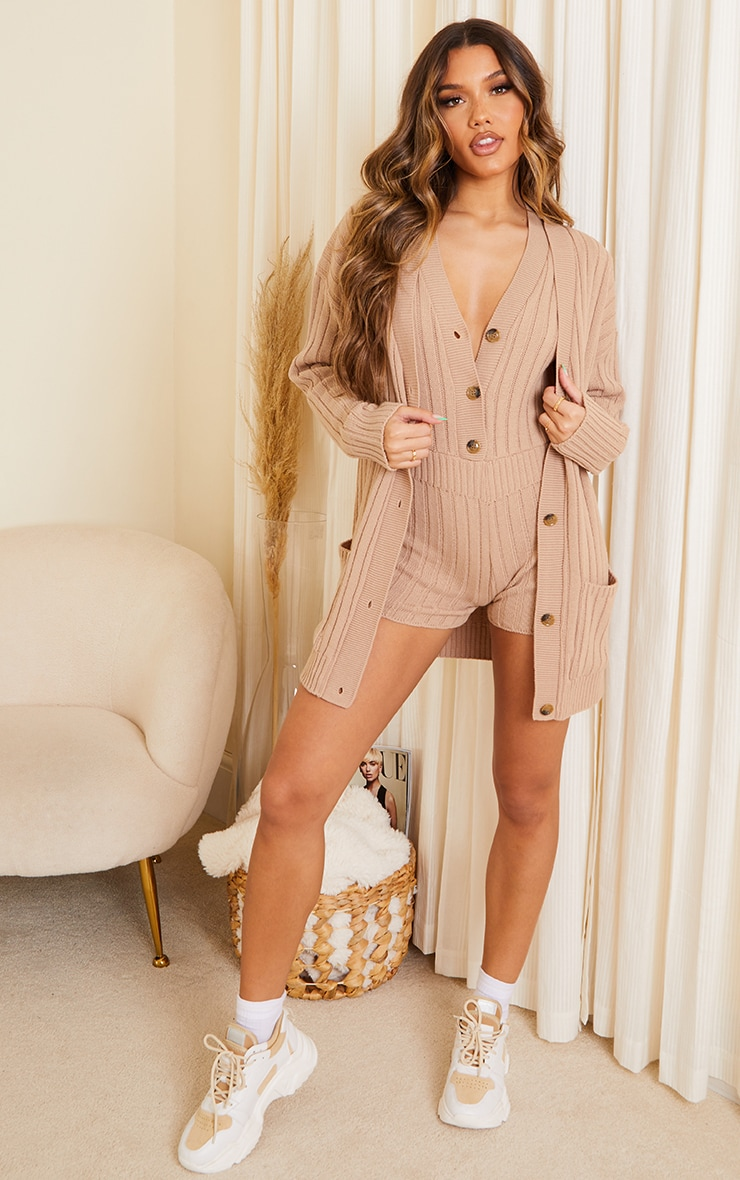 Camel Ribbed Knitted Button Up Pocket Cardigan 3