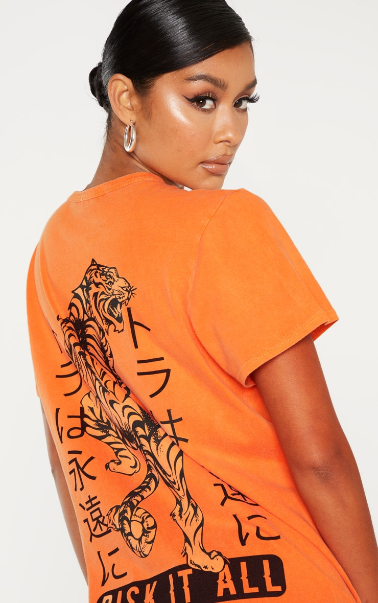 Orange Tiger Printed T Shirt Dress 5