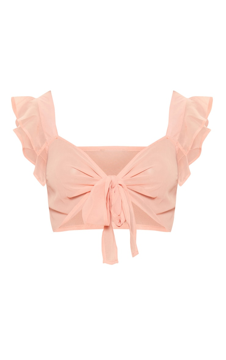 Peach Chiffon Frill Tie Front Bralet 3