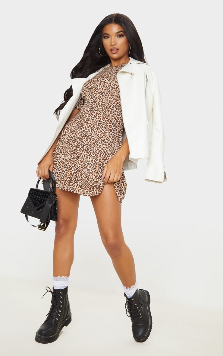 Brown Leopard Print Gathered Bust Shift Dress 1