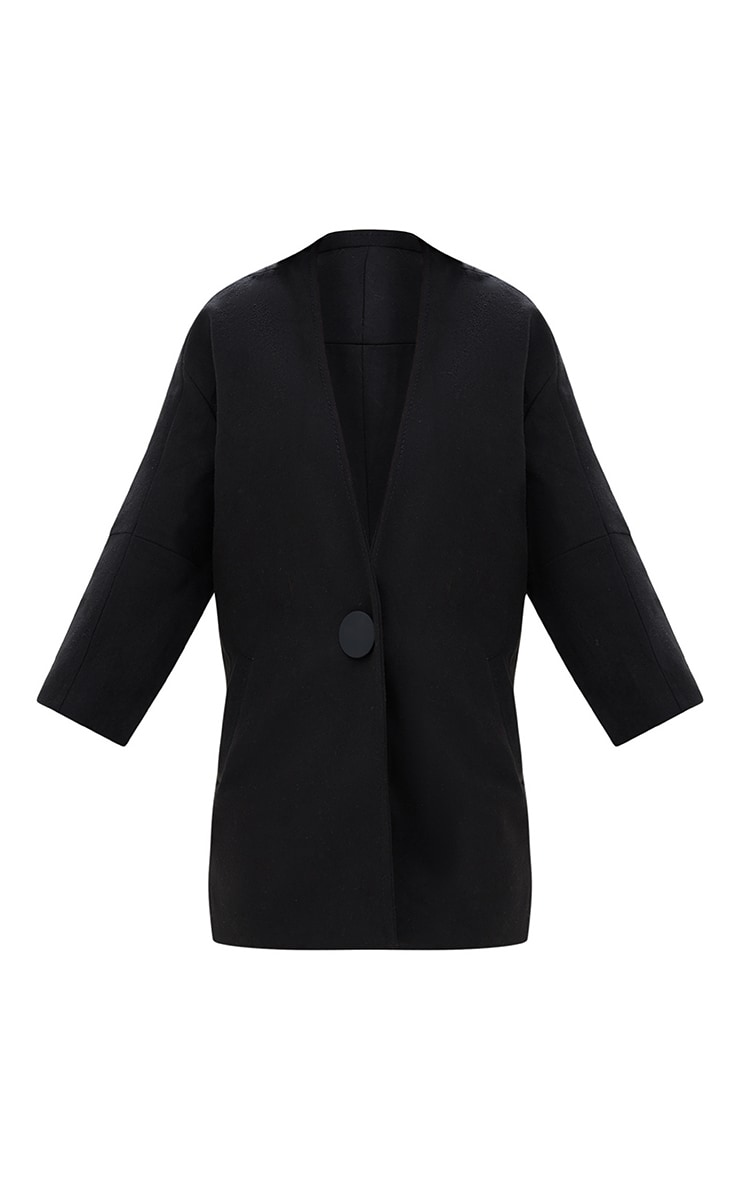 Black Mid Length Button Coat 3