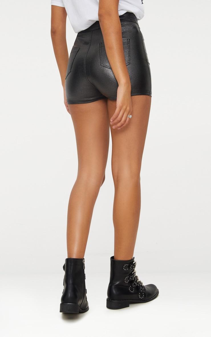 Black Glitter Disco Shorts 4