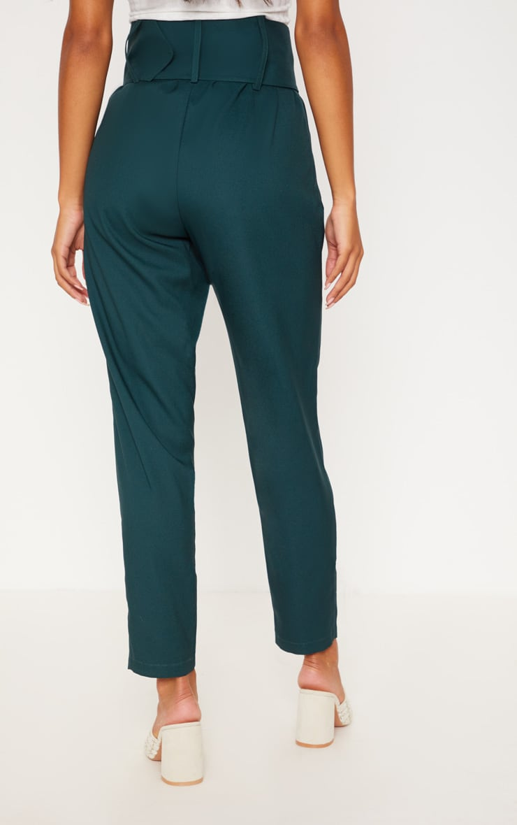 Emerald Green Super High Waisted Belted Tapered Trouser 4
