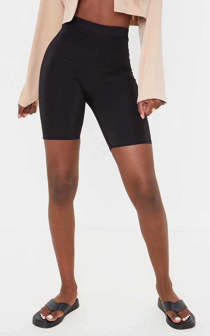 Tall Black Slinky High Waisted Cycle Shorts 2