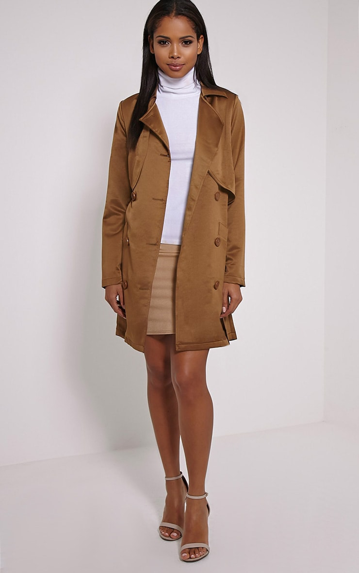 Almeria Khaki Satin Feel Trench Coat 1