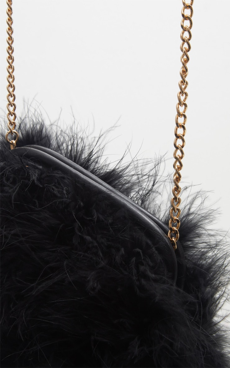 Black Marabou Feather Clutch Bag 3