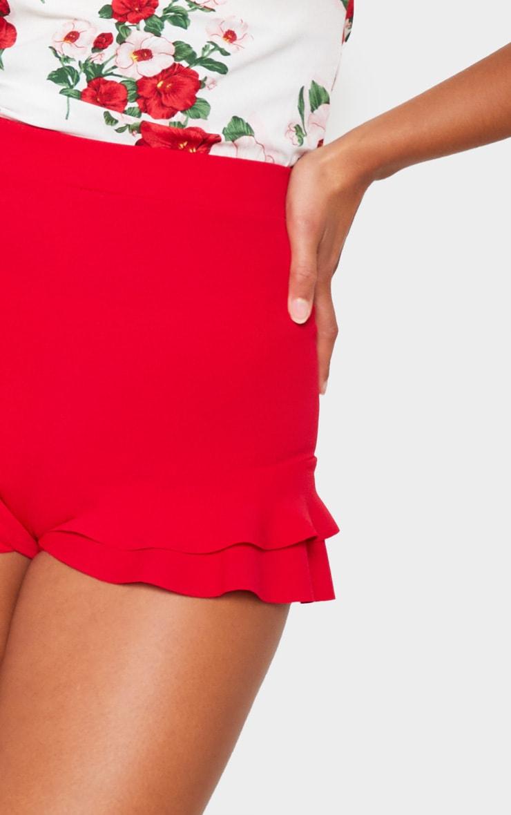 Red Ruffle Detail Frill Hem Short 5
