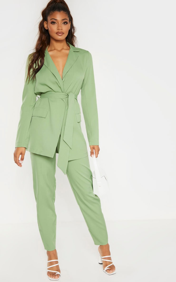 Tall Sage Green Tied Waist Suit Jacket 4