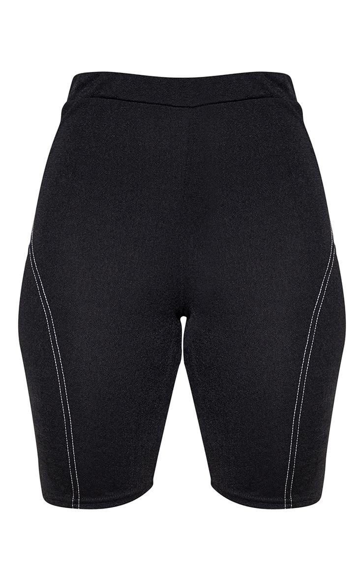 Petite Black Contrast Stitch Cycling Shorts 3