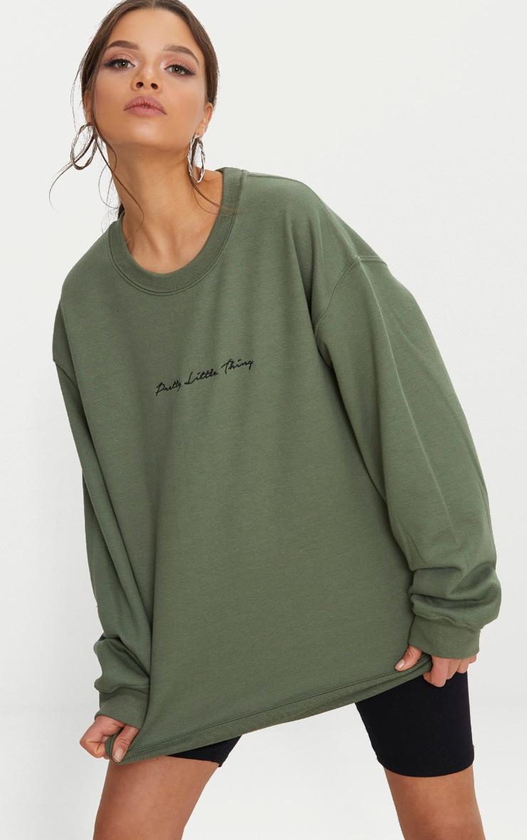 PRETTYLITTLETHING Khaki Embroidered Oversized Sweater 2