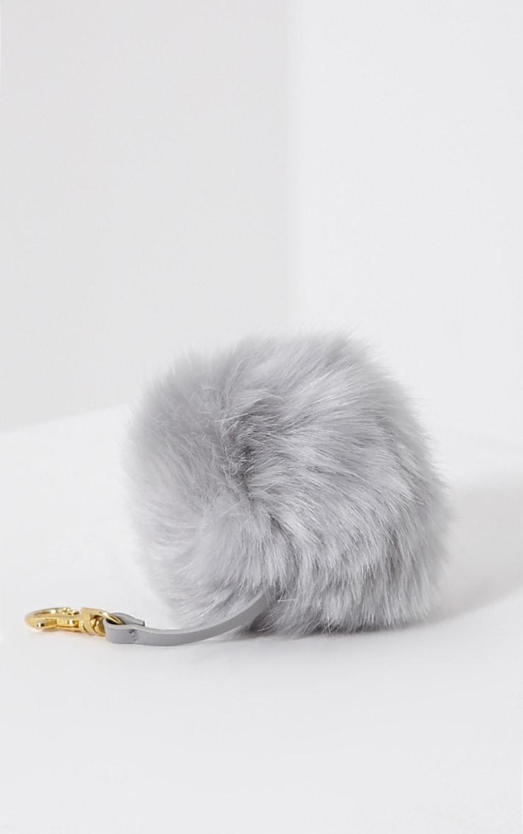 Milly Grey Fur Pom Pom Key Chain 3