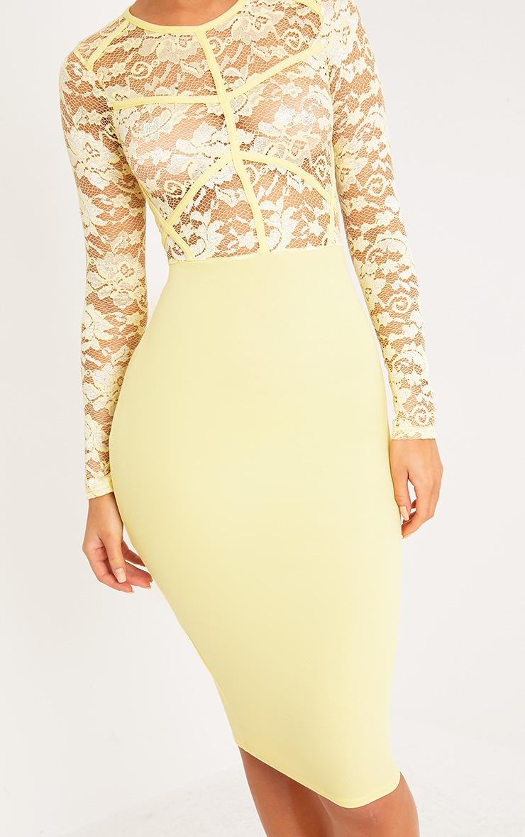 Aspen Lemon Sheer Lace Contrast Midi Dress 5