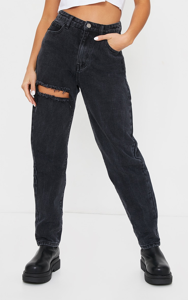PRETTYLITTLETHING Washed Black Petite Thigh Distressed Mom Jeans 2