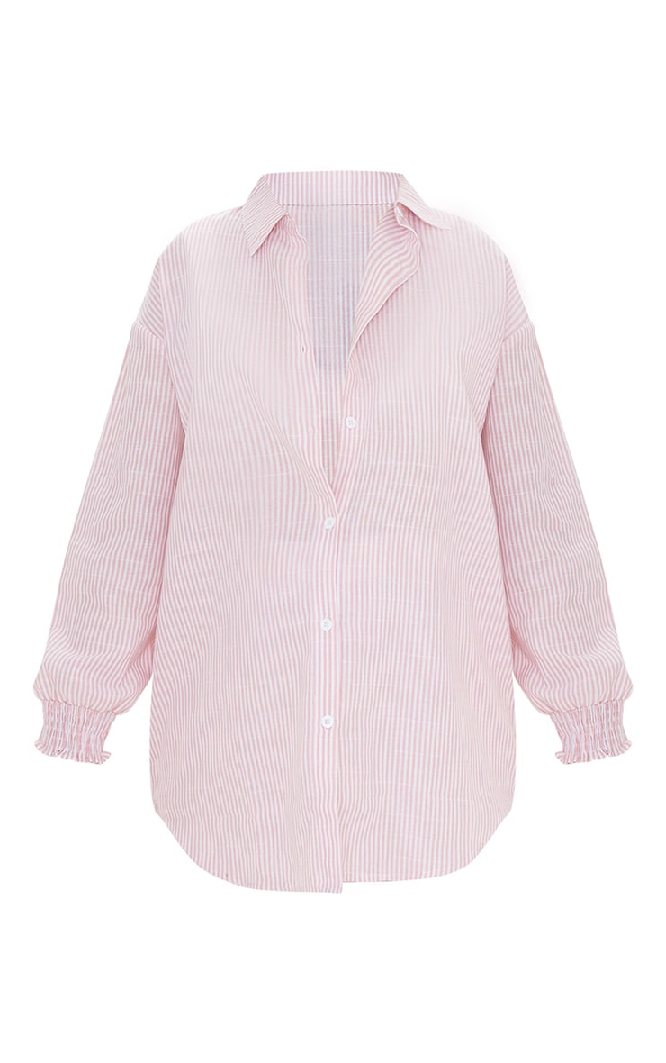 Maternity Pink Oversized Stripe Linen Look Shirt 5