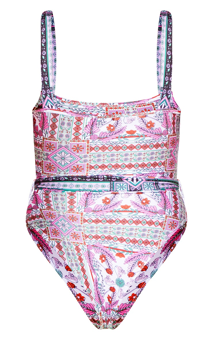 Multi Mosaic Print Belted Swimsuit 8