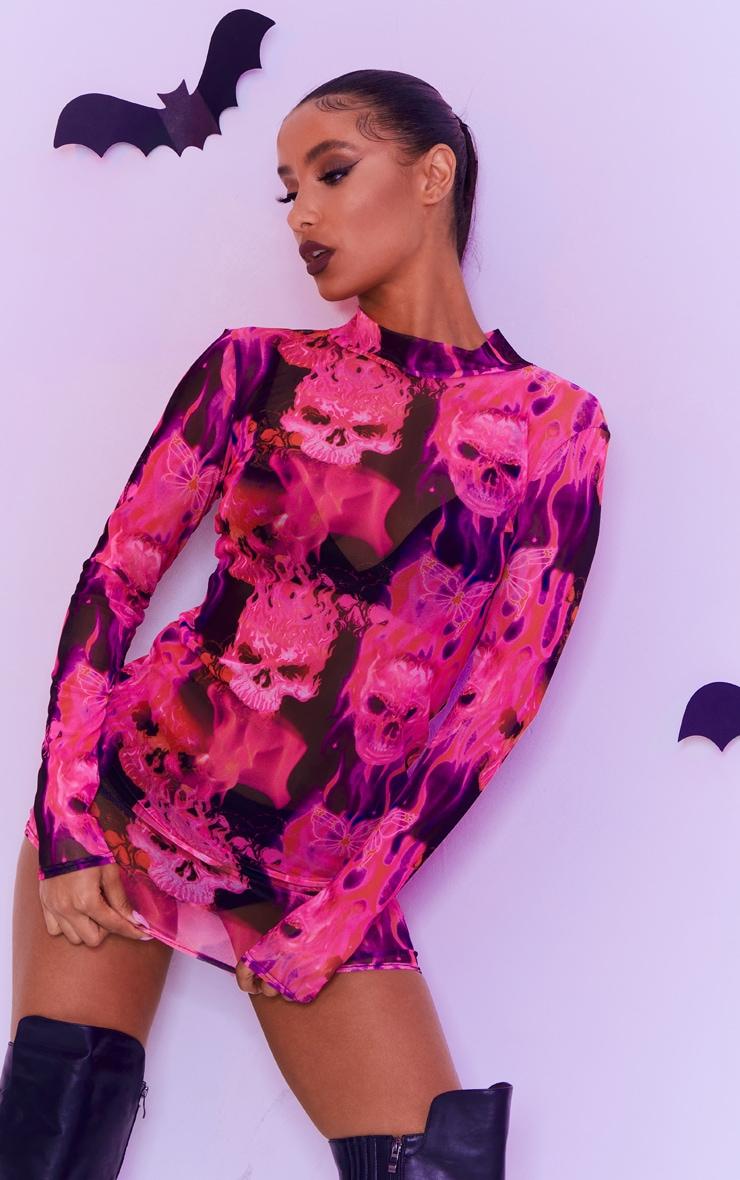 Pink Skeleton Butterfly Print Mesh High Neck Long Sleeve Bodycon Dress 1