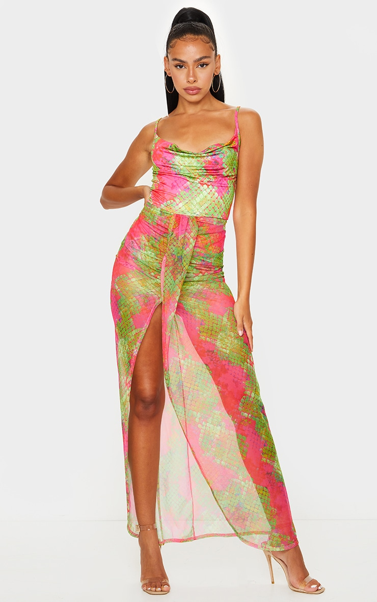 Pink Snake Print Mesh Drape Detail Split Maxi Dress 1