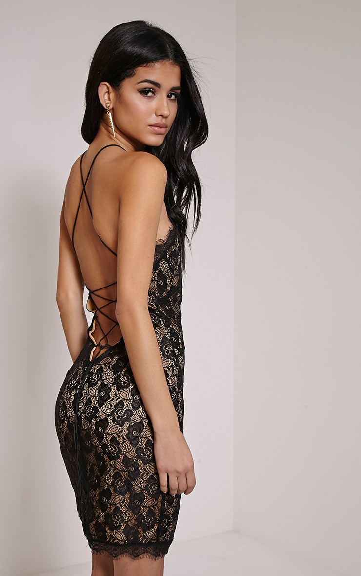 Sierra Black Cross Back Lace Mini Dress 1