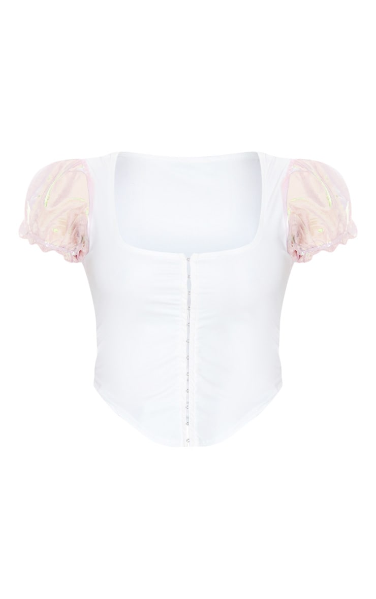 White Hook And Eye Organza Sleeve Crop Top 5