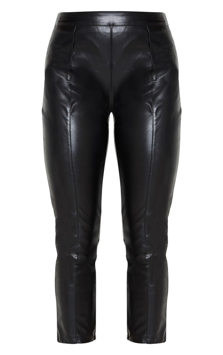 Daysha Black Cropped Faux Leather Trousers 5