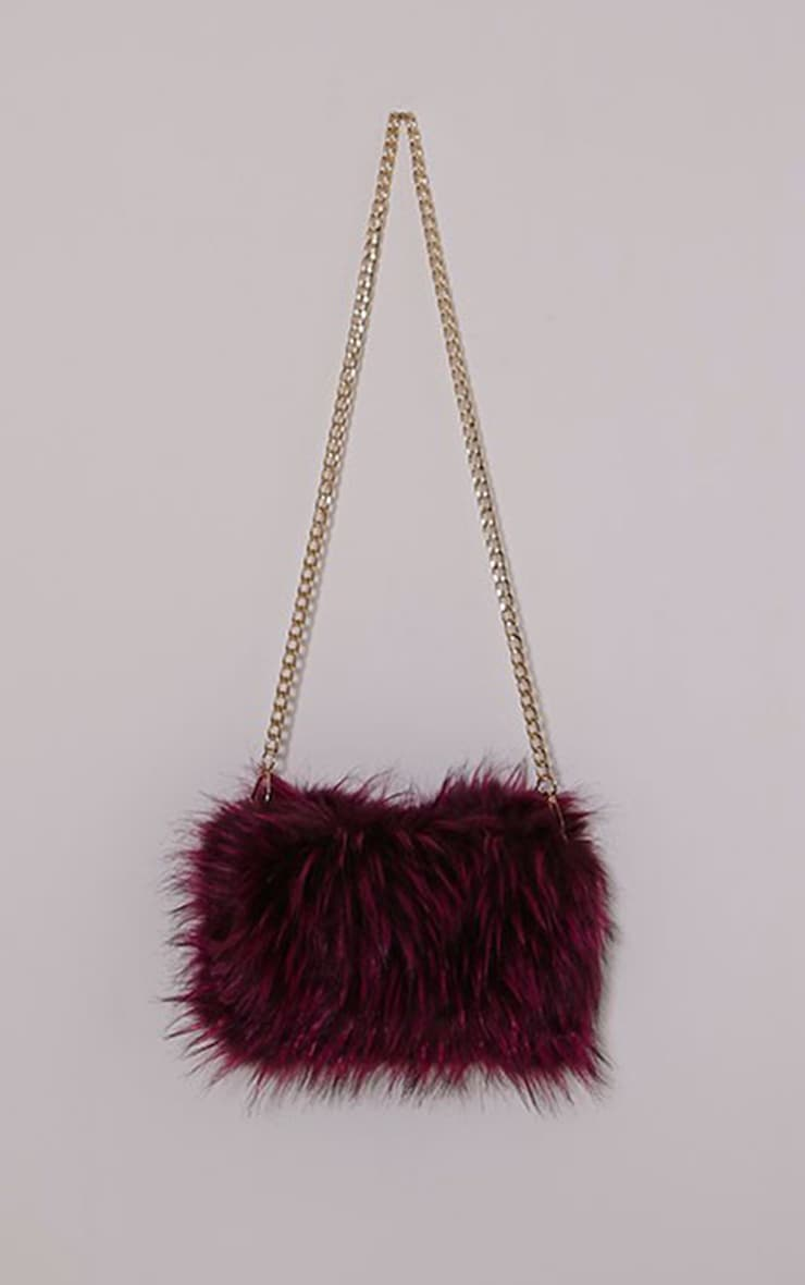 Marny Puple Faux Fur Chain Shoulder Bag 1