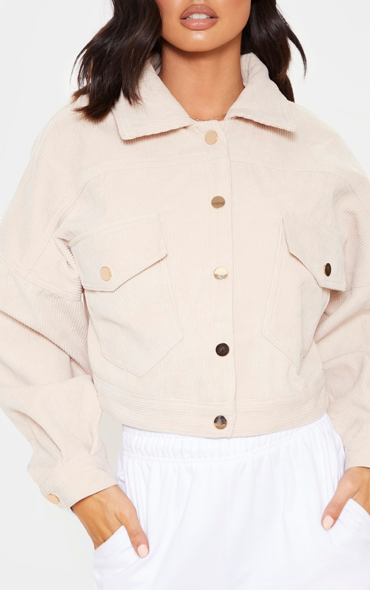 Stone Cropped Cord Oversized Trucker Jacket 5