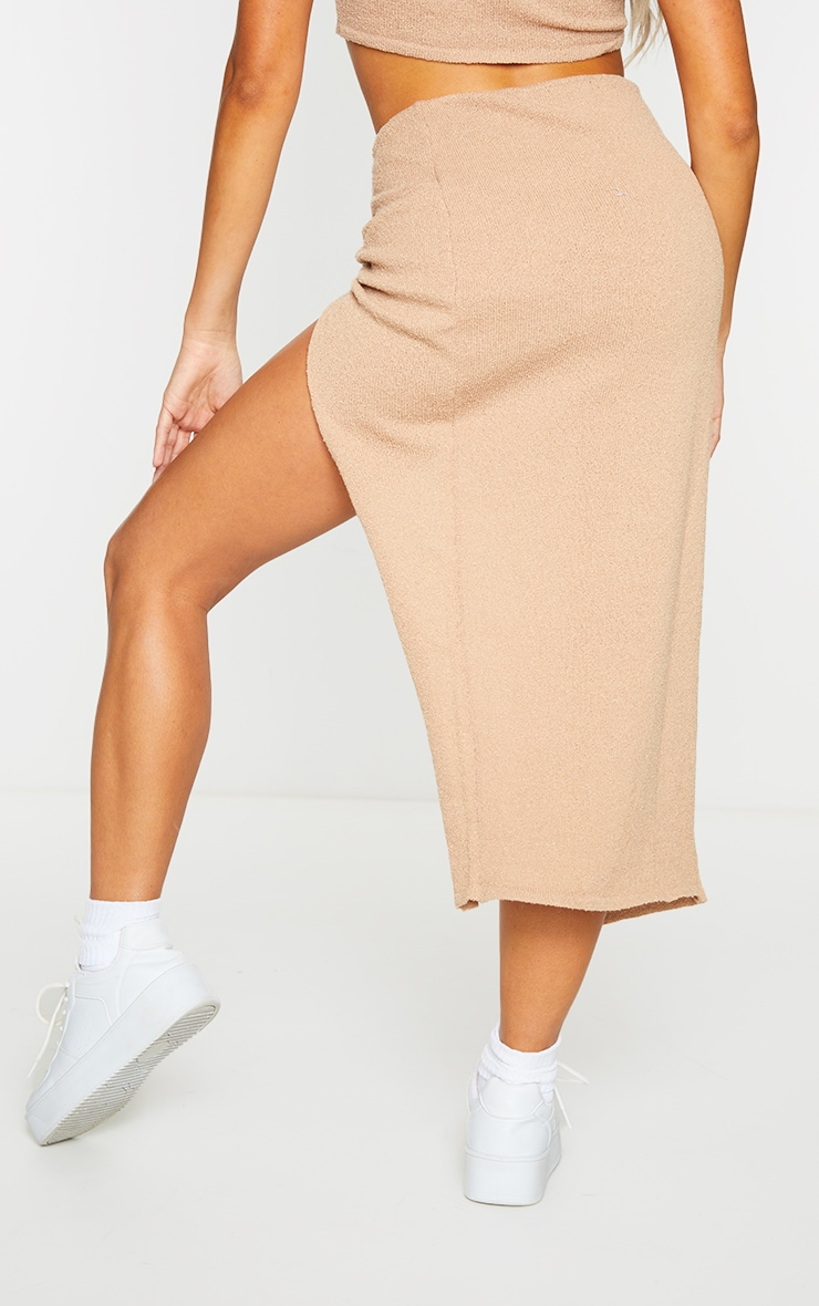 Stone Ruched Waist Side Split Towelling Knit Skirt 3