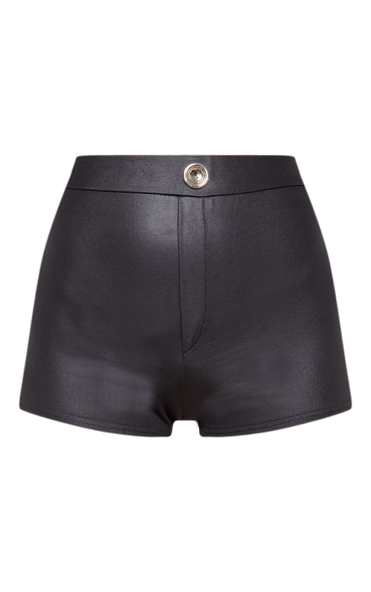 Black Wet Look Button Detail Hot Pants 3