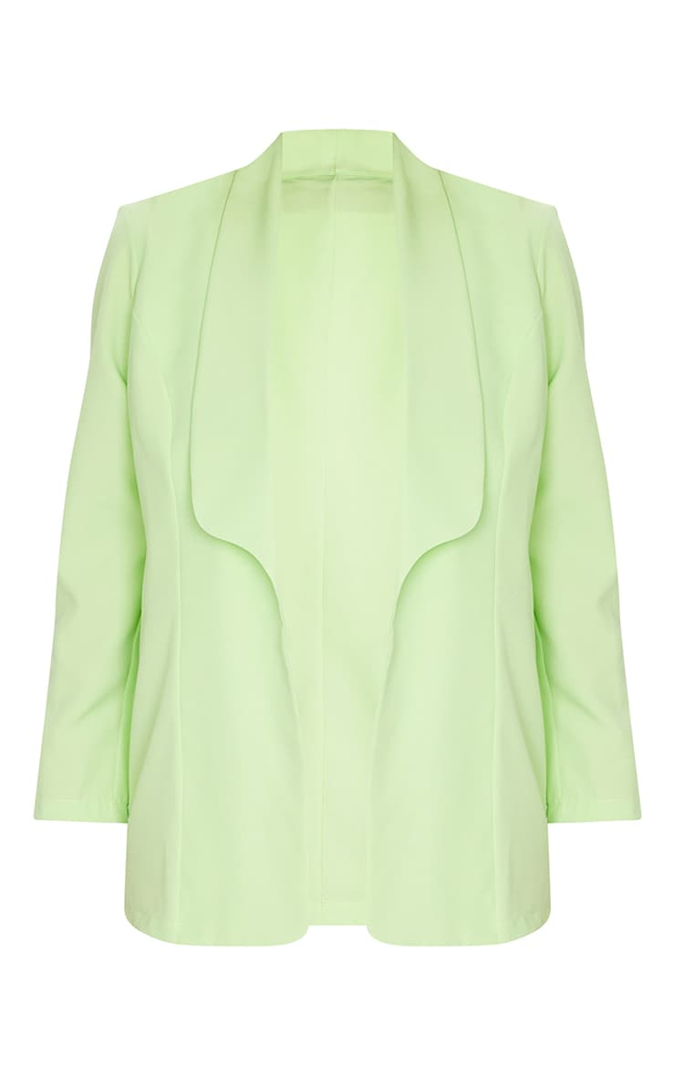 Plus Lime Curved Lapel Woven Longline Blazer 5