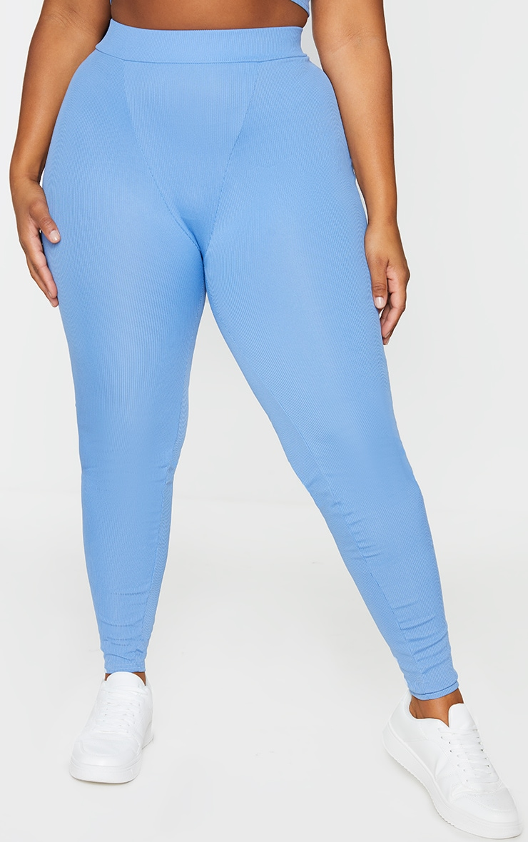 RECYCLED Plus Cornflower Blue Seam Detail Leggings 2