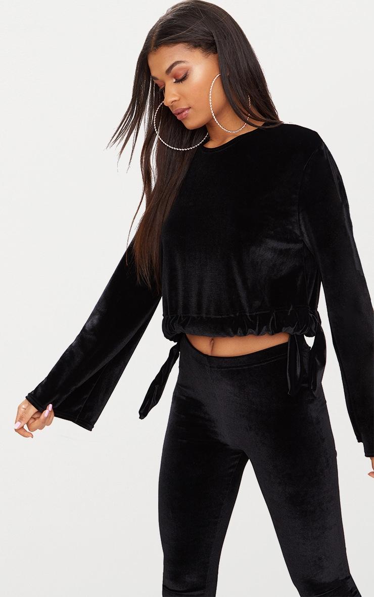 Black Velvet Tie Waist Longsleeve Crop Top  1