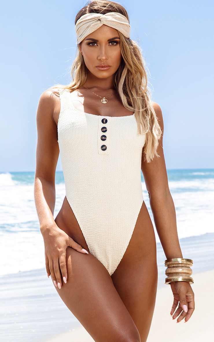 Sand Button Down Crinkle Swimsuit 1