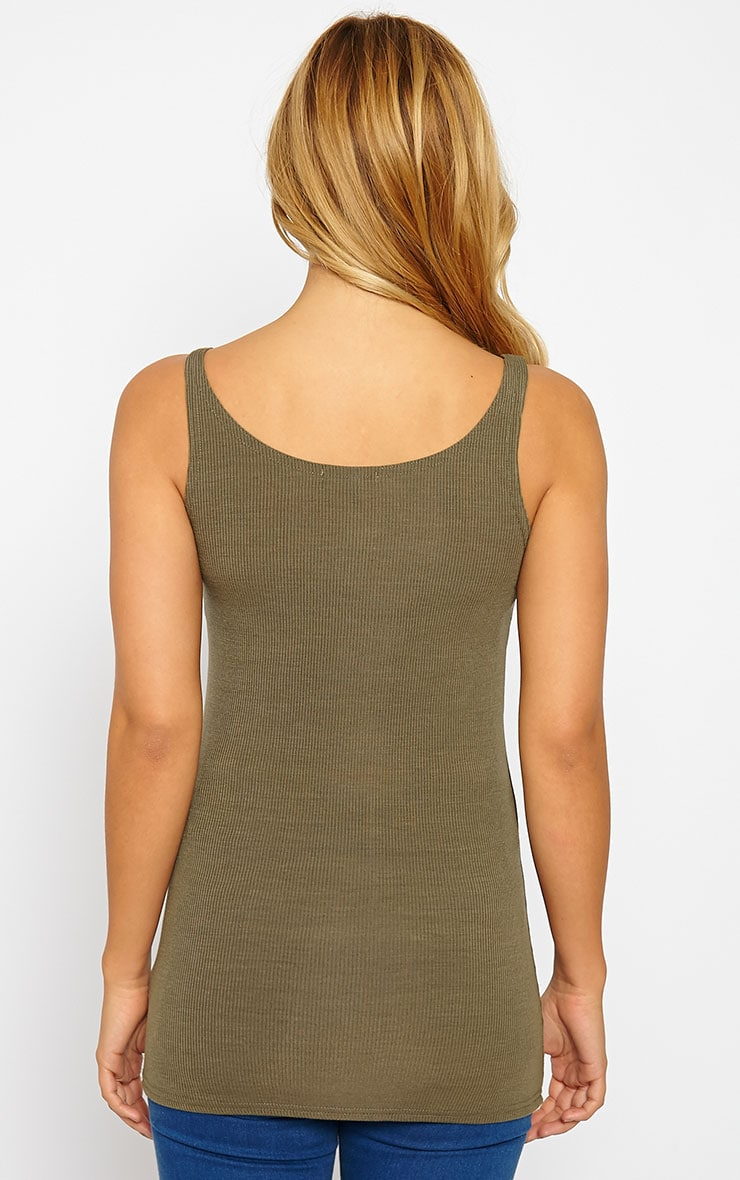 Basic Khaki Ribbed Vest Top 2