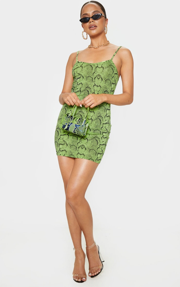 Lime Snake Print Strappy Scoop Neck Bodycon Dress 4