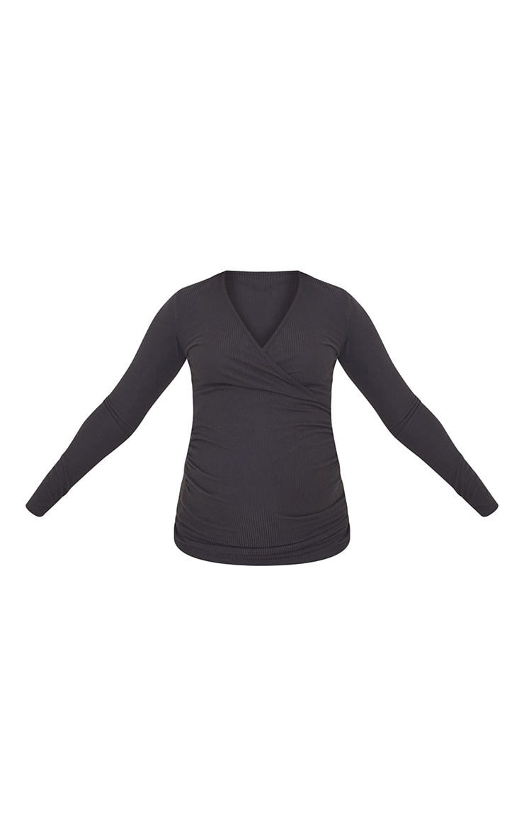 Maternity Black Brushed Rib Ruched Top 5