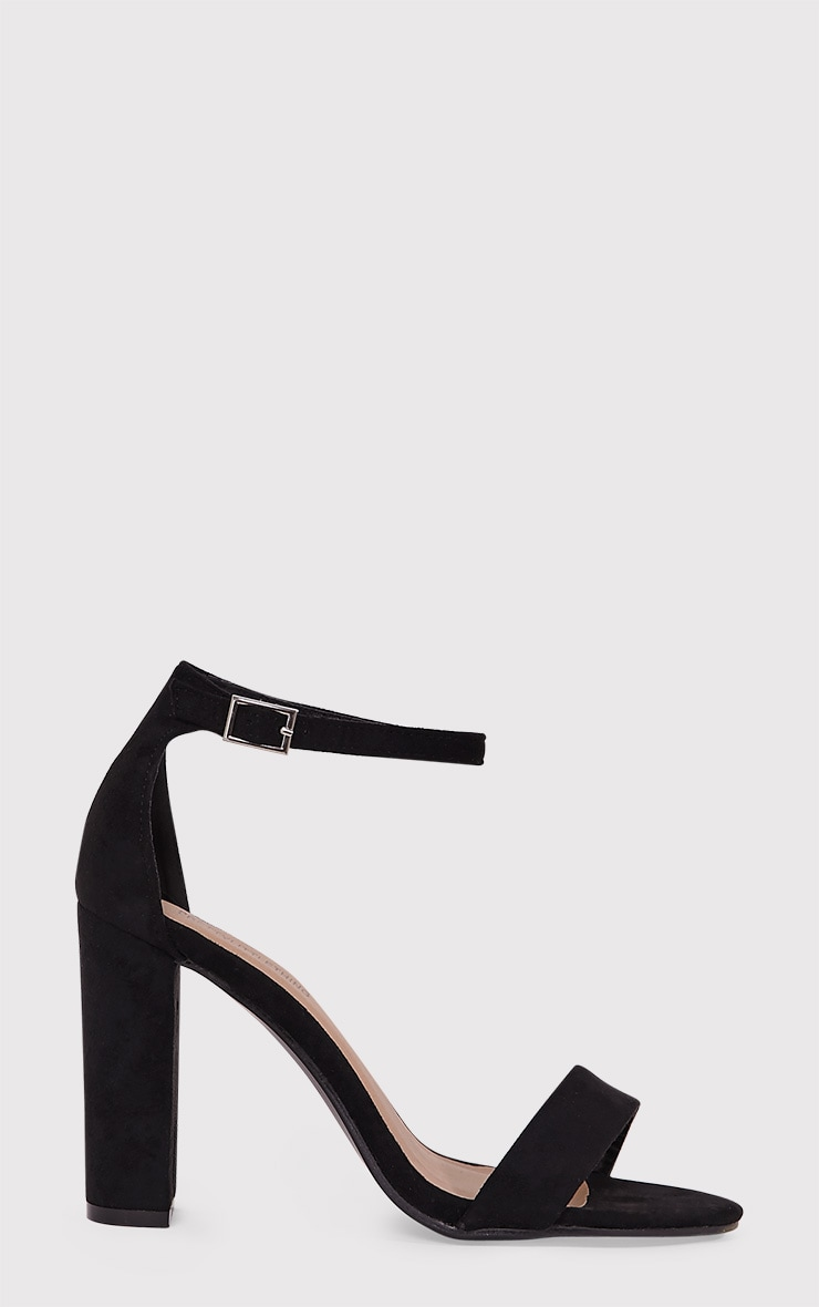 May Black Faux Suede Block Heeled Sandals 2