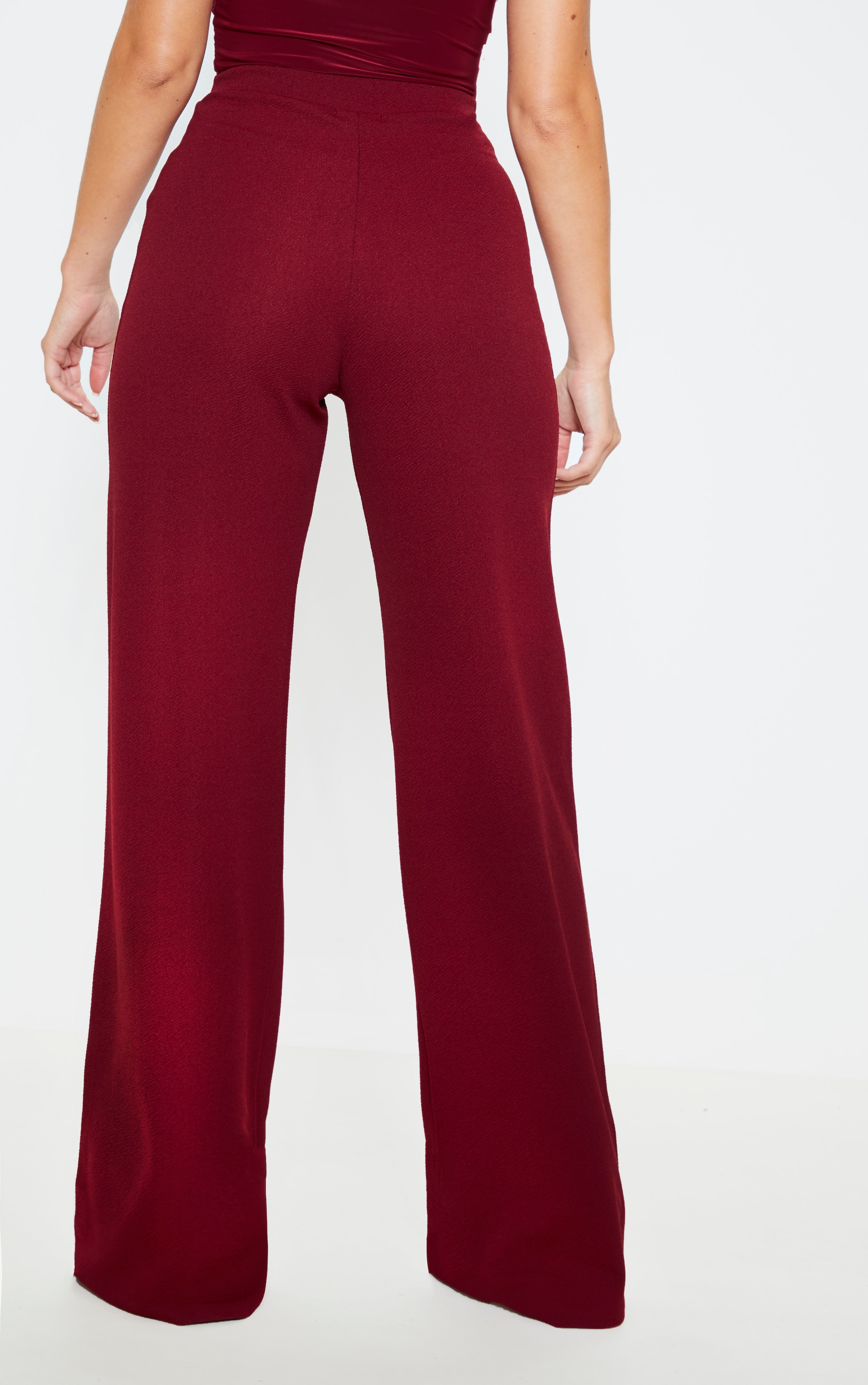 Burgundy Wide Leg Pants  4