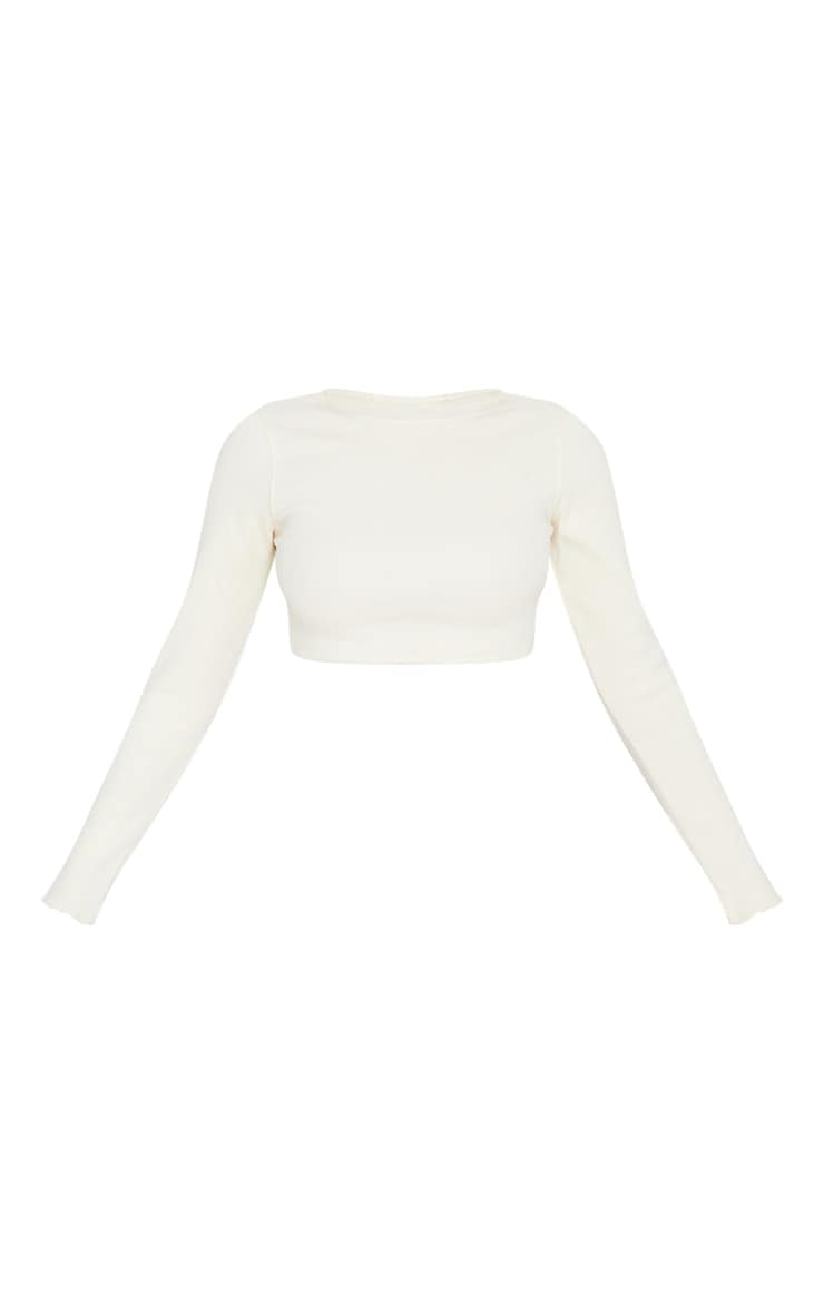 Cream Frill Edge Crop Knitted Top 4