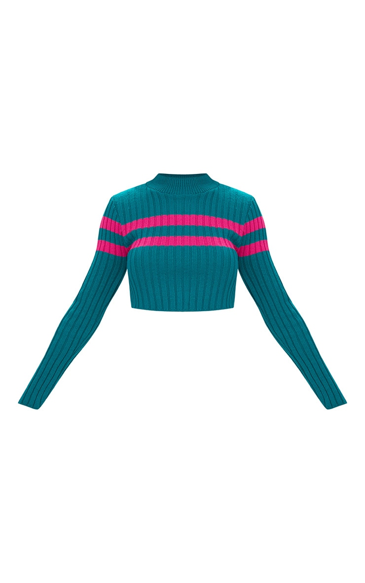 Emerald Green Stripe Detail Cropped Knitted Jumper 3