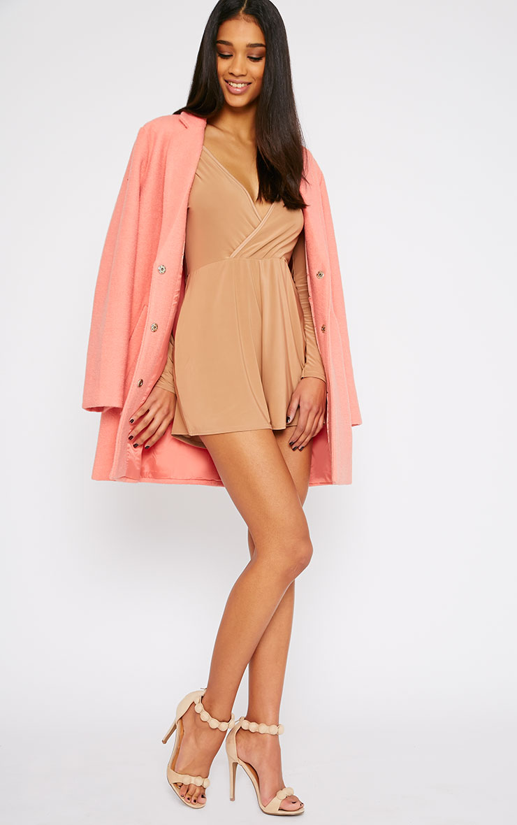 Tilly Camel Slinky Wrap Over Playsuit 5