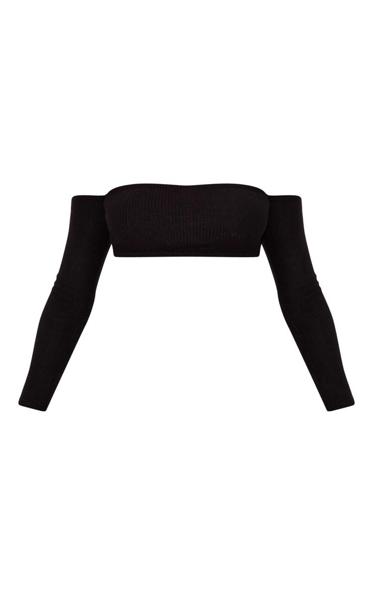 Black Brushed Rib Bandeau Long Sleeve Crop Top 3