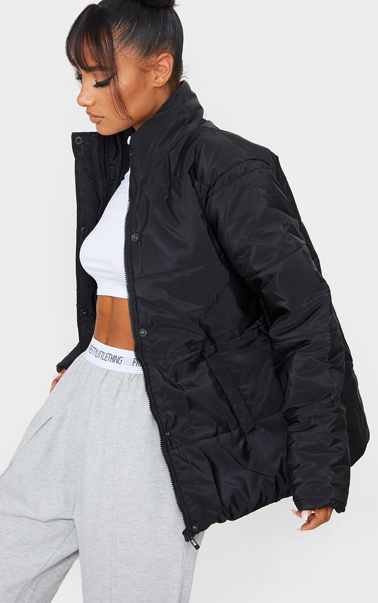 Black Basic Panel Zip Up Puffer 4